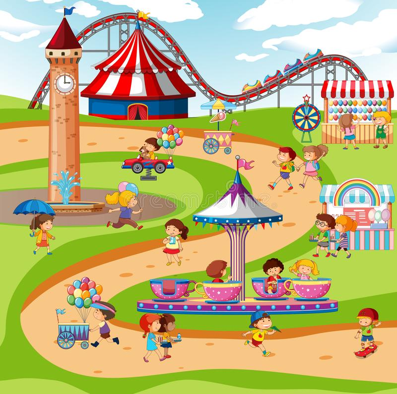 Scene With Monkeys On The Rides At Fun Fair On White Background Stock  Illustration - Download Image Now - iStock