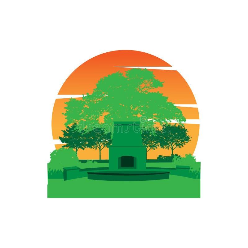 Outdoor garden flat design landscape vector design illustration royalty free illustration