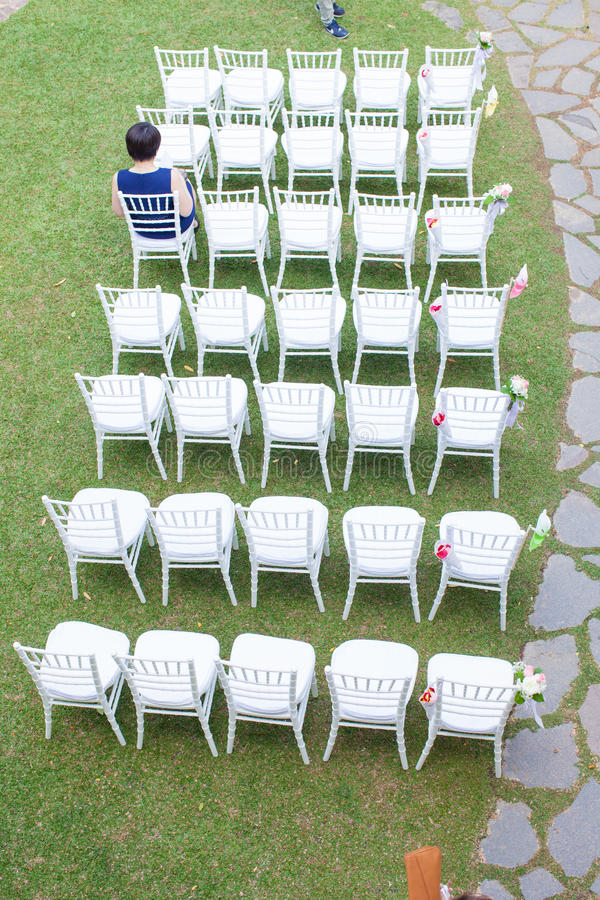 Outdoor garden style wedding settings stock photos