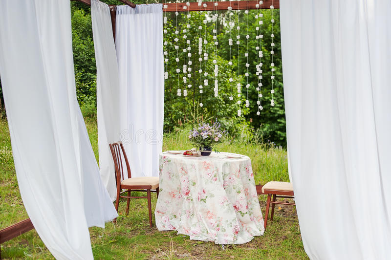 Download Outdoor Gazebo With White Curtains. Wedding Decorations. Stock  Photo   Image: 60827486