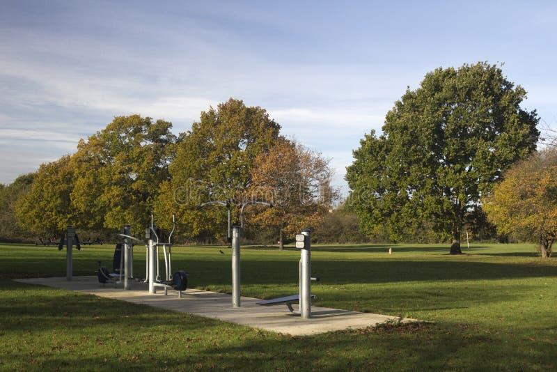 Outdoor Gym Equipment in Wickford Memorial Park, Essex, England. Outdoor gym equipment in Wickford Memorial Park, Wickford, Essex, England royalty free stock photos