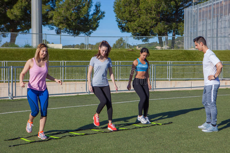 Outdoor gym fitness group stock photo