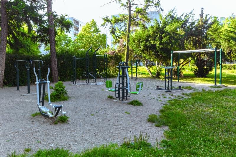 Outdoor gym in nature for fitness royalty free stock image