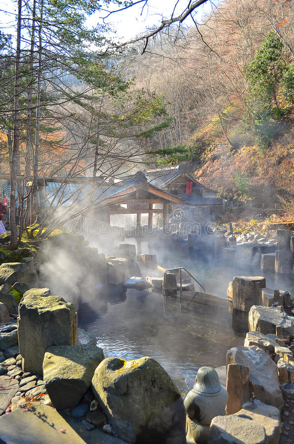 Outdoor hot spring, Onsen in japan in Autumn stock image