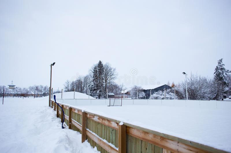 Outdoor ice skating rink. An outdoor ice skating rink and a hockey net with tall frost covered trees in the background in a winter landscape royalty free stock photography