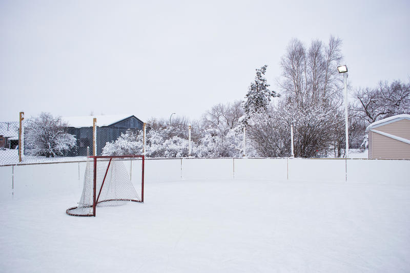 Outdoor ice skating rink. An outdoor ice skating rink and a hockey net with tall frost covered trees in the background in a winter landscape stock photo