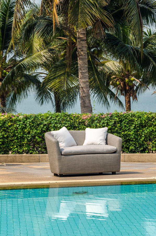 Outdoor indoor sofa chair with cushion and pillows royalty free stock images