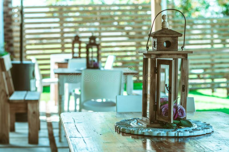 Outdoor lamp shade decoration - lined up stock image