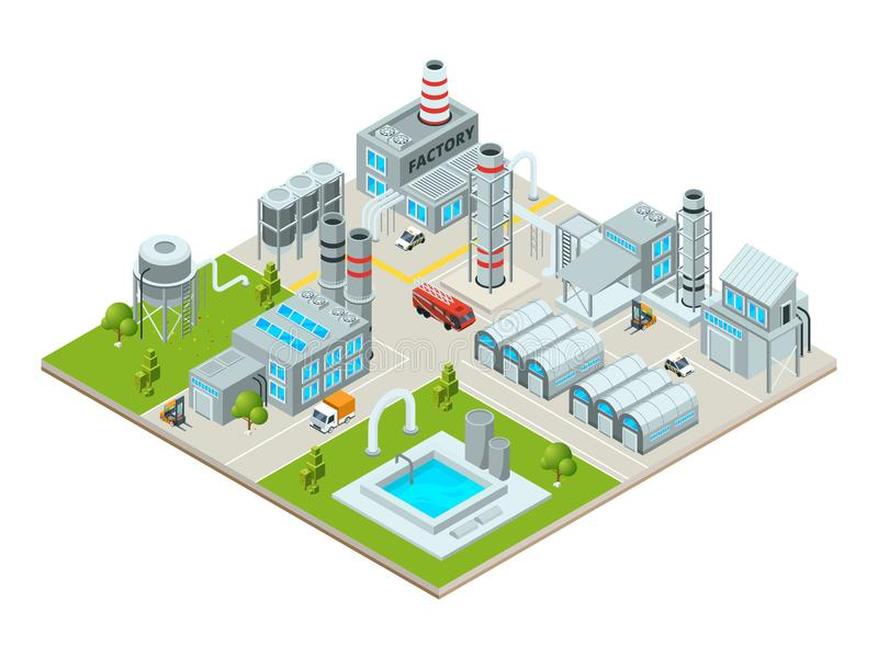 Outdoor landscape with factory buildings. Isometric pictures. Factory building and industrial area, production construction. Vector illustration vector illustration