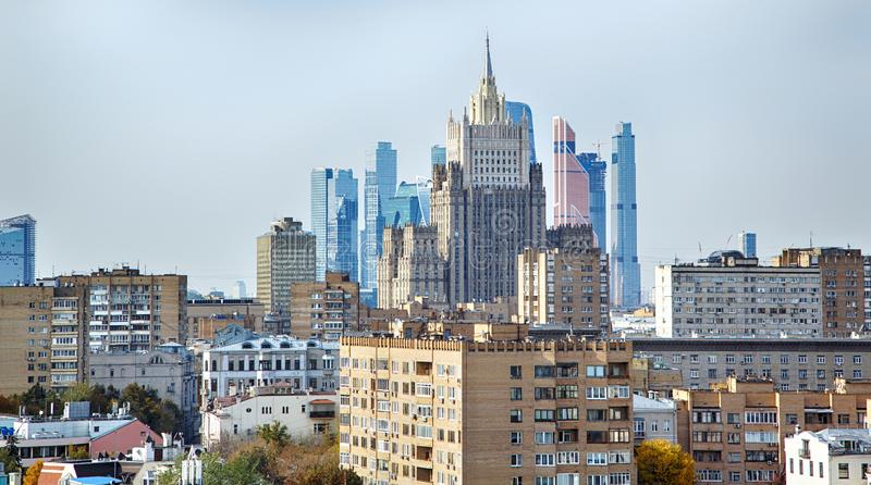 Outdoor landscape of Moscow architecture with modern skyscrapers and old city, Russia. stock photo