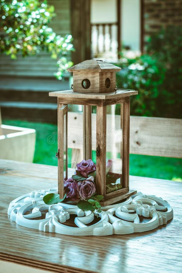 Outdoor lantern or lamp shade decoration - on table royalty free stock photo