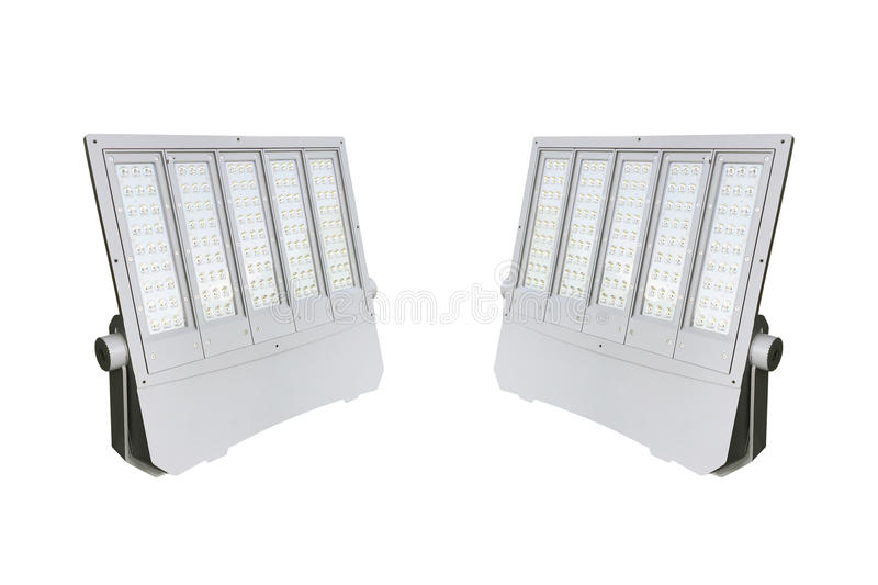 Outdoor LED street lamps post with energy-saving technology. For hight brightness with small energy isolate on white background stock photo