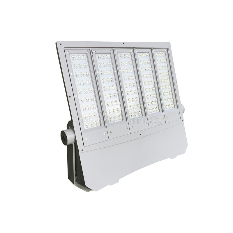 Outdoor LED street lamps post with energy-saving technology. For hight brightness with small energy isolate on white background stock image