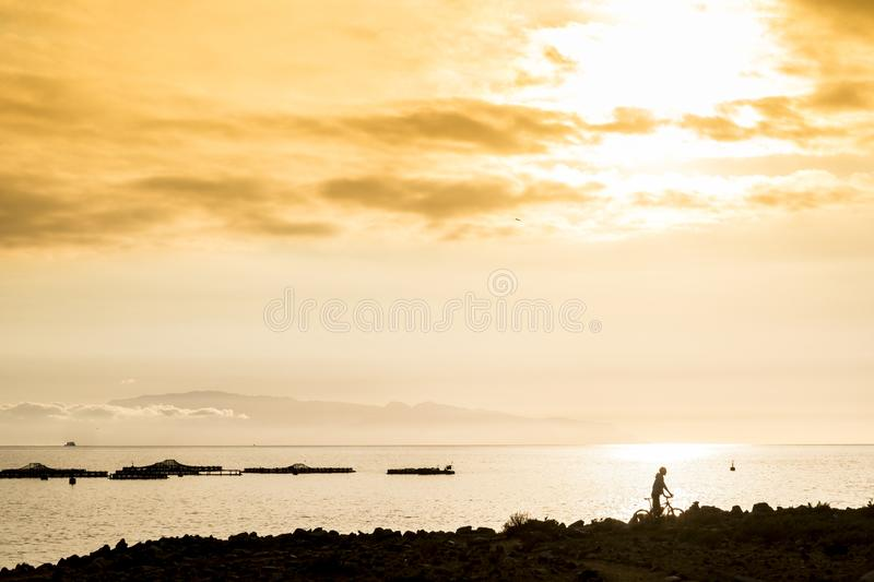 Outdoor leisure activity with man and mountain bike in silhouette with golde and colored sunset in background. ocean and coast. stock photography