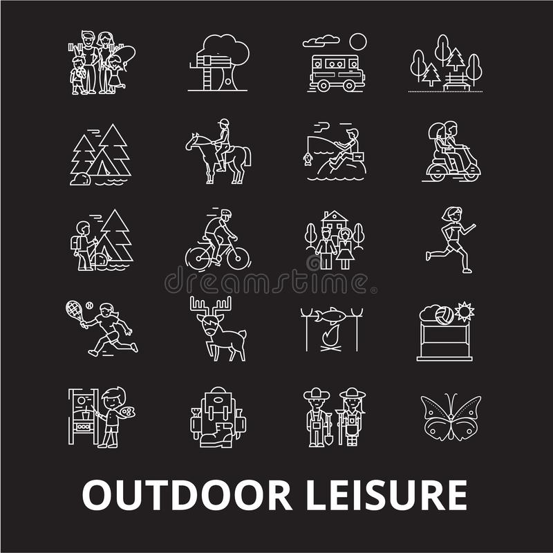 Outdoor leisure editable line icons vector set on black background. Outdoor leisure white outline illustrations, signs vector illustration