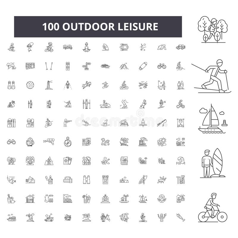 Outdoor leisure editable line icons, 100 vector set, collection. Outdoor leisure black outline illustrations, signs. Outdoor leisure editable line icons, 100 royalty free illustration