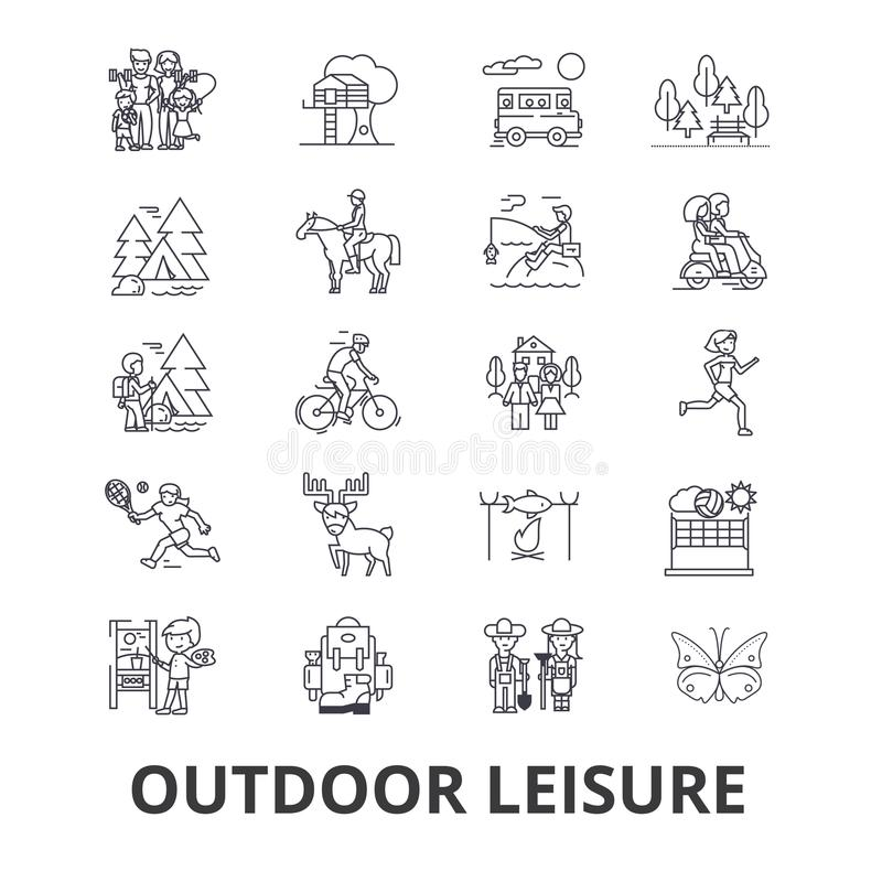 Outdoor leisure related icons stock illustration