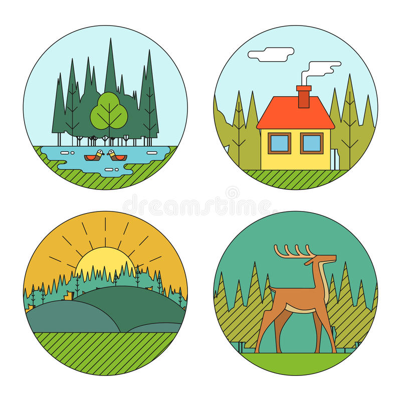 Outdoor Life Symbol Lake Forest House Deer Duck royalty free illustration