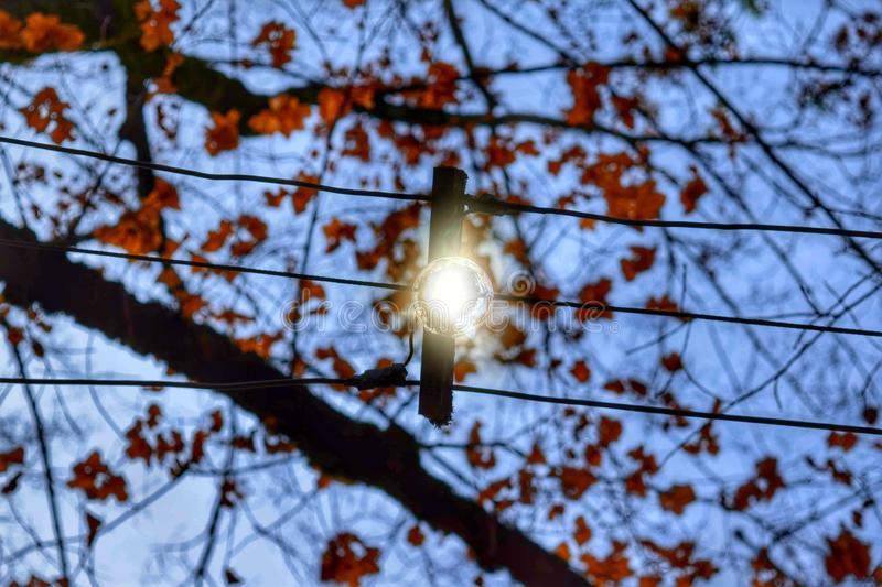 Outdoor lighting. Retro outdoor lighting hung by wires royalty free stock images