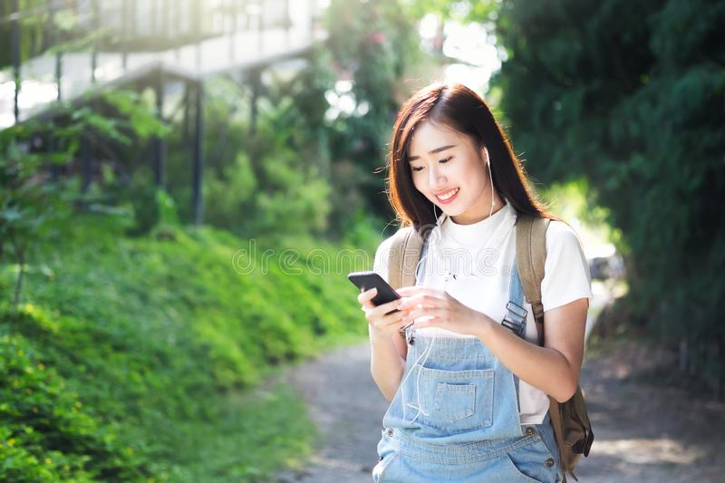 Outdoor and listening to the music media entertainment. stock images