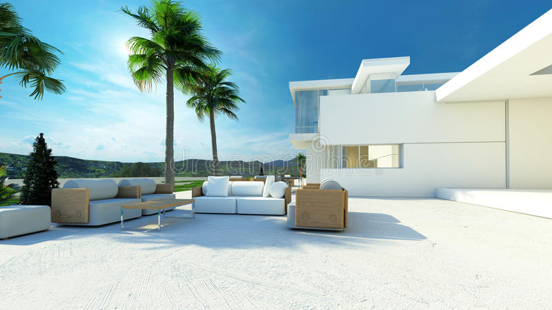 Outdoor living area in a modern tropical villa. Outdoor paved patio living area with comfortable furniture in the shade of palm trees in a modern tropical luxury stock illustration