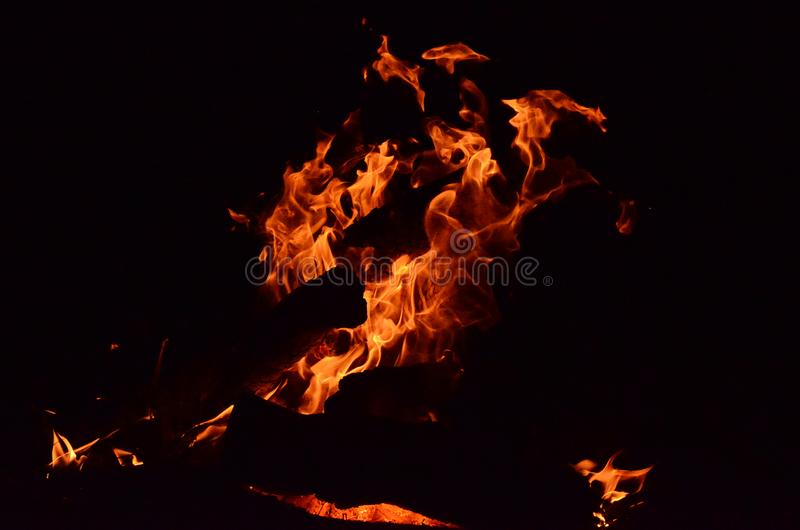 Outdoor living, camp fire,. Burning logs royalty free stock photography