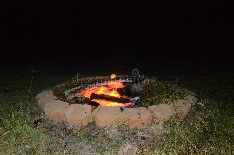 Outdoor living, fire pit camp fire. Leisure and outdoor activity royalty free stock image