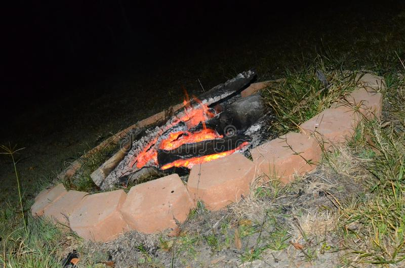 Outdoor living, fire pit camp fire royalty free stock images