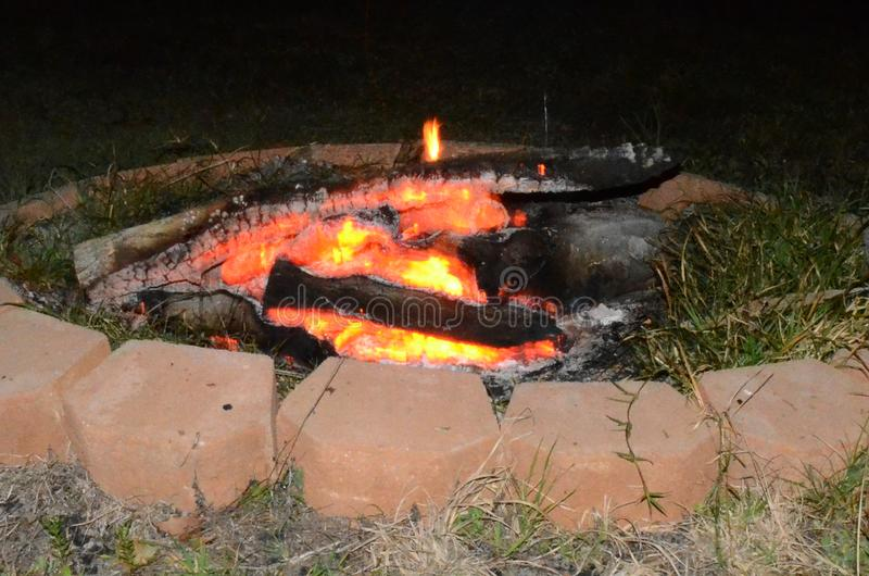 Outdoor living, fire pit camp fire. Leisure and outdoor activity royalty free stock photography