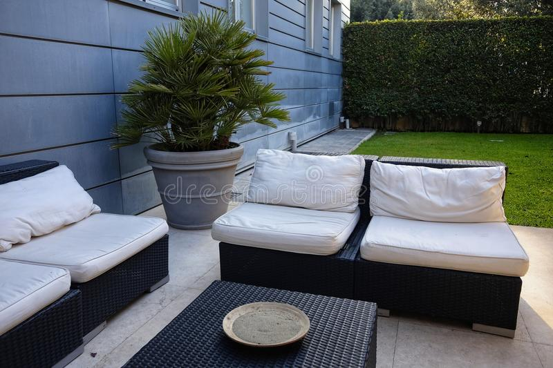 Outdoor living room. Empty white royalty free stock images