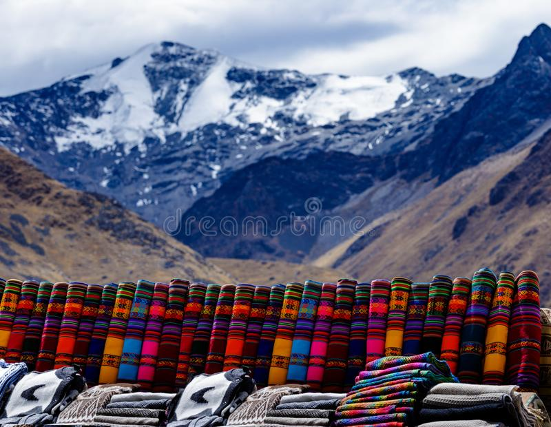 Peruvian poncho, outdoor market, alpaca wool, Peru stock photo