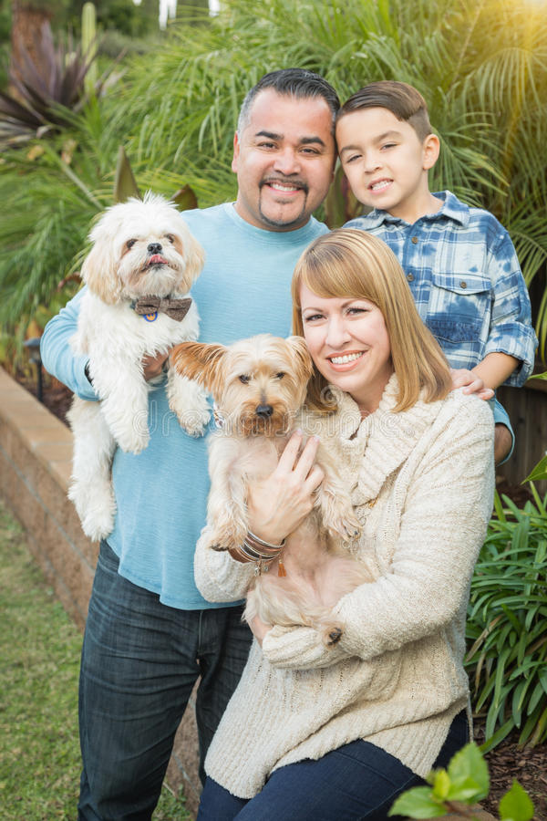 Outdoor Mixed Race Family Portrait. Happy Mixed Race Family Portrait Outdoors royalty free stock photos
