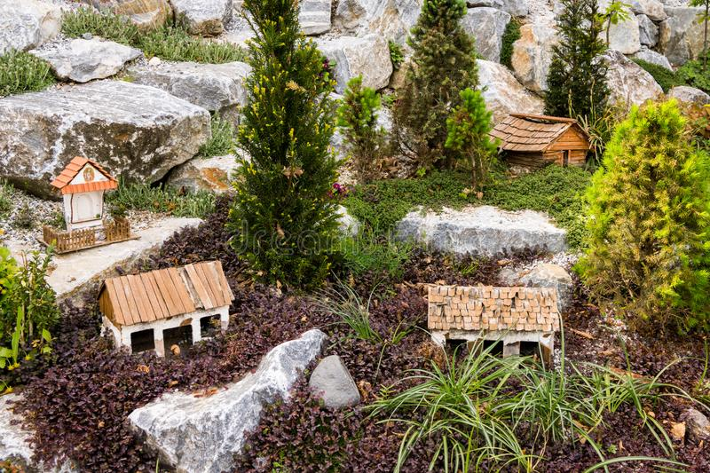 Outdoor models of various rural buildings royalty free stock image