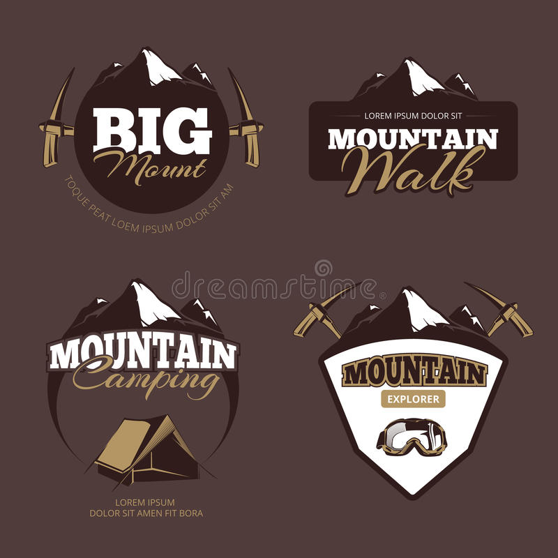 Free Outdoor Mountain Camping, Alpinism Vector Emblems, Labels, Badges, Logos Set Royalty Free Stock Photography - 73081107