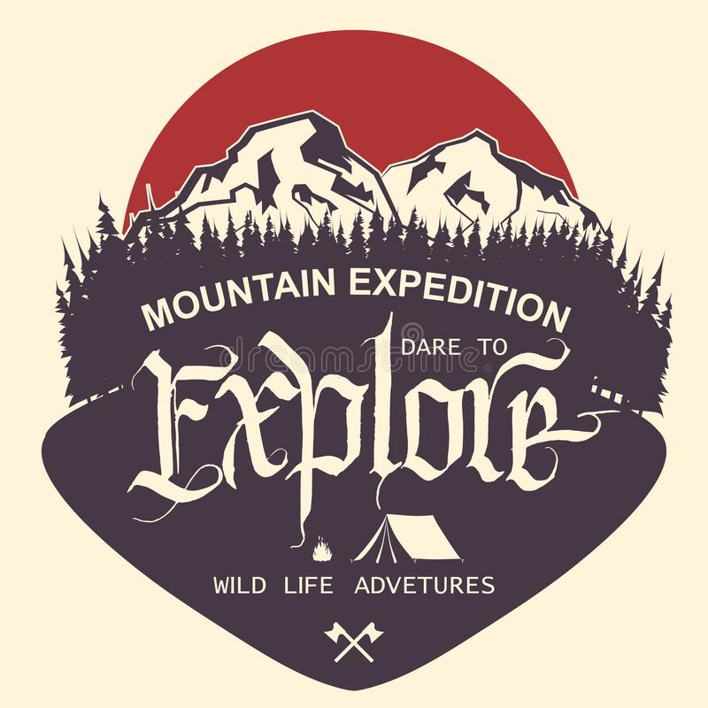 Outdoor Mountain expedition typography royalty free illustration