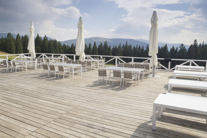 Outdoor mountain restaurant royalty free stock image