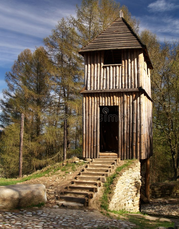 Outdoor museum in Slovakia. An outdoor archeological museum in Slovakia royalty free stock photography