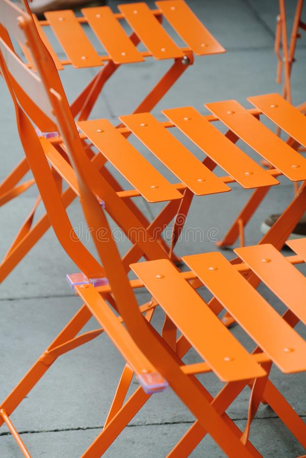 Download Outdoor Orange Metal Chairs Stock Image   Image Of Color, Nobody:  119696097