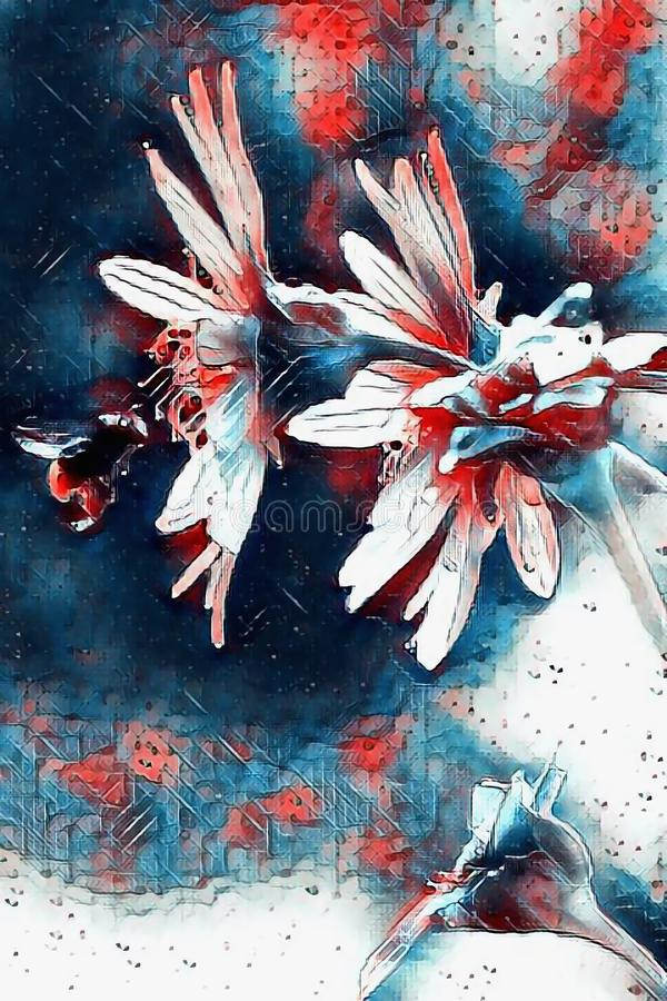 Outdoor paintings. Shambhala Bumblebee pollinates flowers in red and blue style. Green living. Artistic ecology art.  stock photos