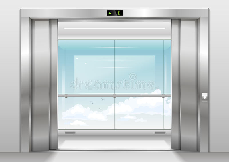 Outdoor panoramic elevator. Open Doors panoramic elevator with a glass wall or window. Vector graphics. Glass transparency effect royalty free illustration