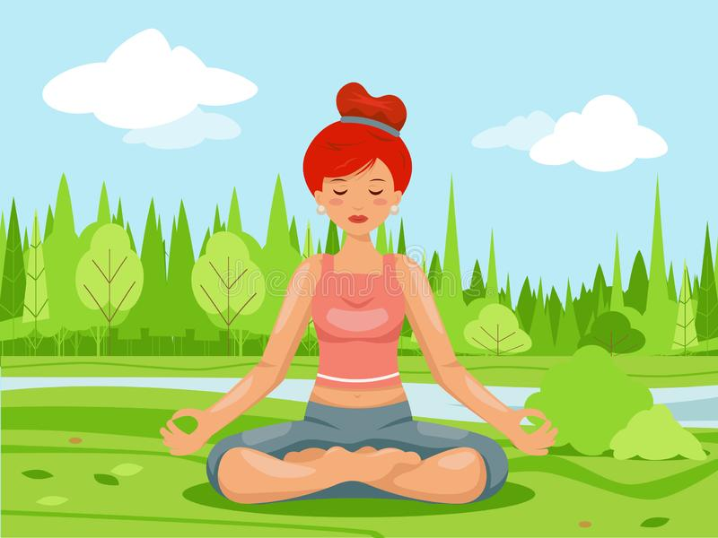 Outdoor park nature meditation cute female girl yoga health cartoon character design vector illustration vector illustration