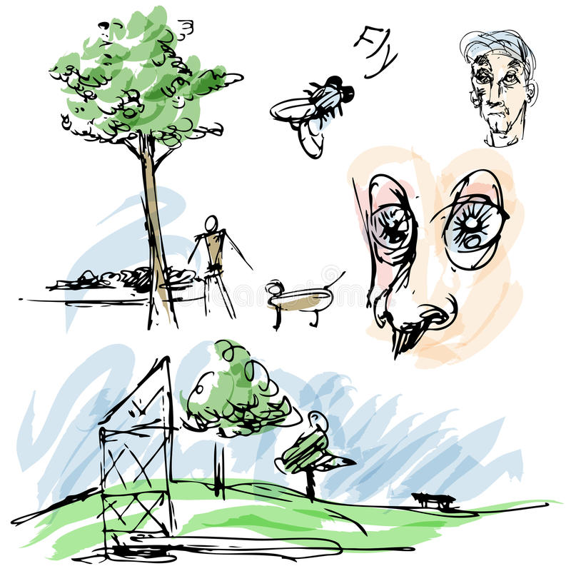 Download Outdoor Park Sketches stock illustration. Image of blue - 26465820