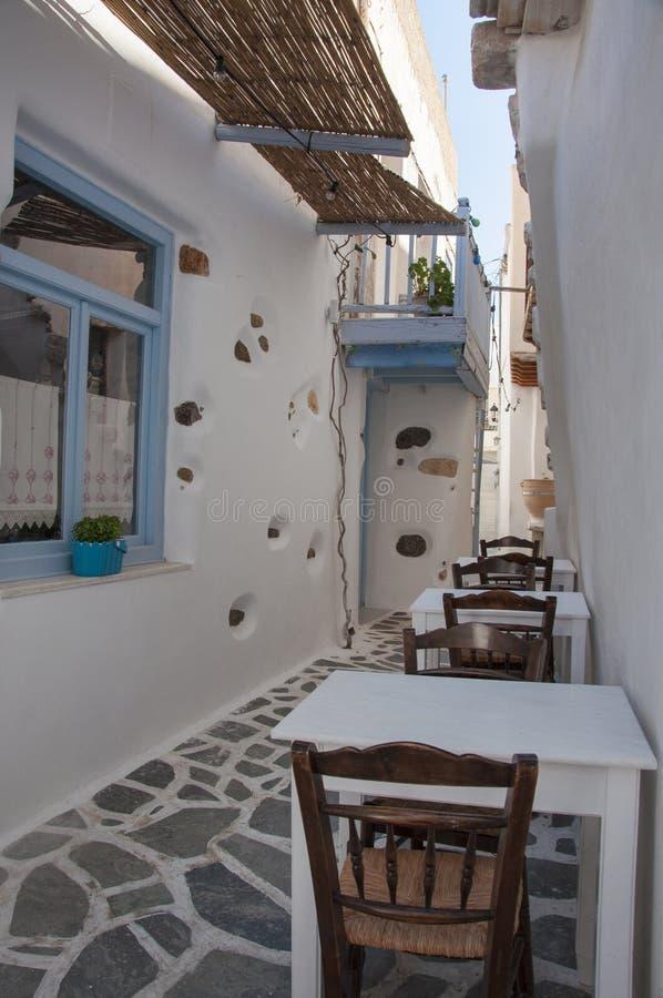Open air Greek taverna stock images