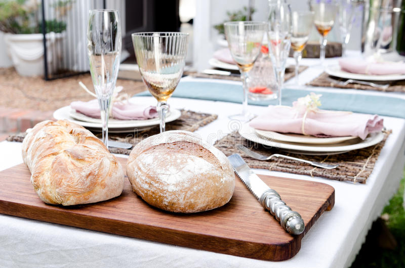 Outdoor party simple table setting royalty free stock photos