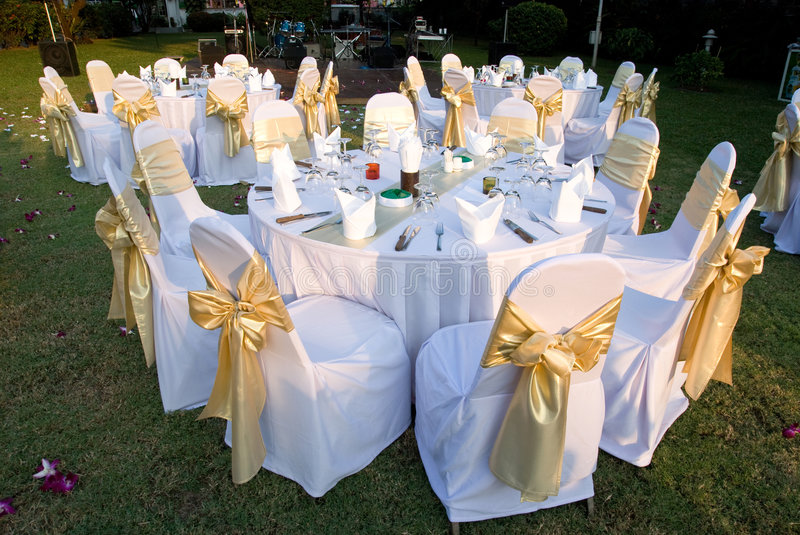 Download Outdoor Party Tables Stock Photo. Image Of Golden, Grass   7904688