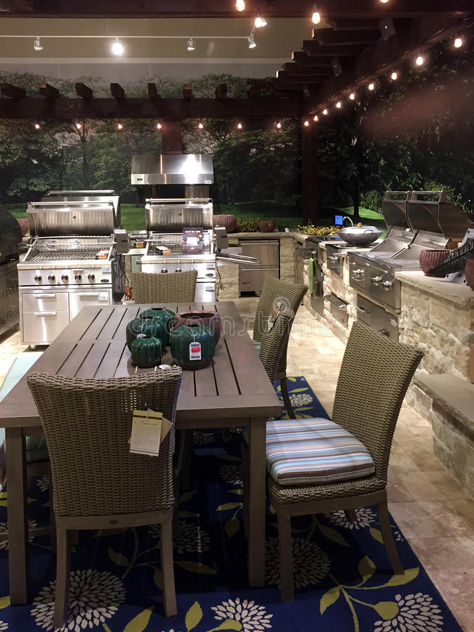 Outdoor patio design at furniture market royalty free stock image