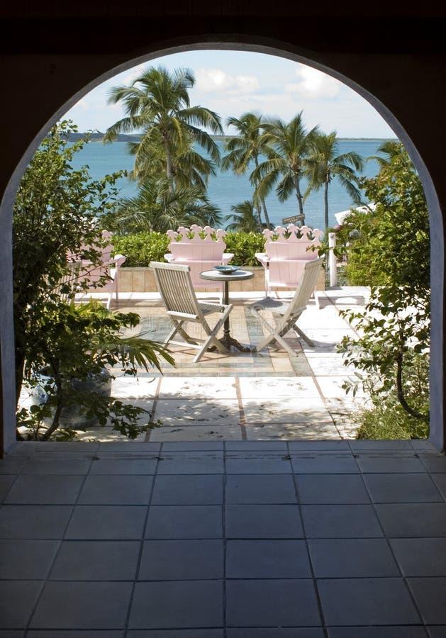 Outdoor patio over ocean stock photo