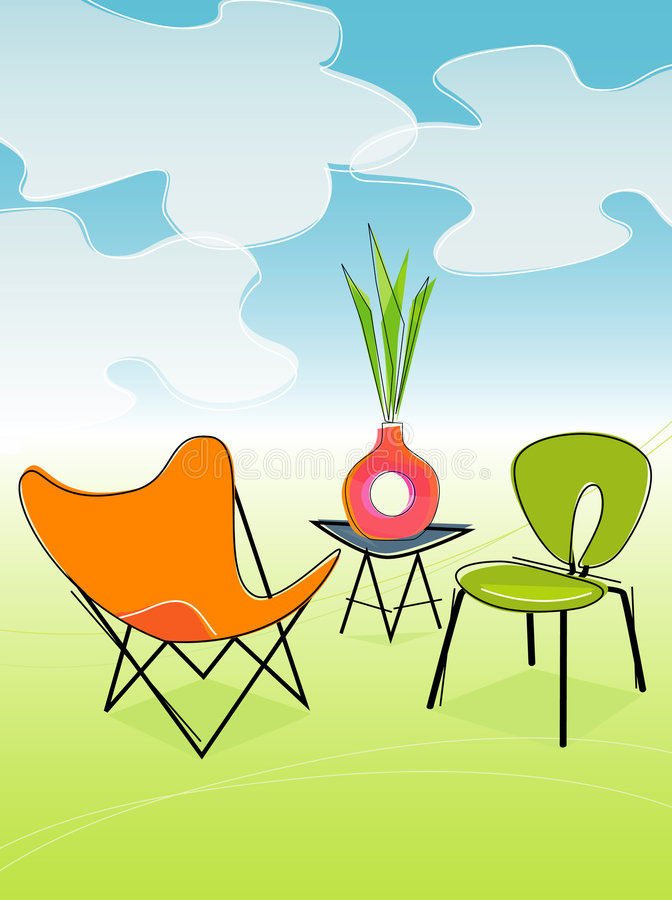 outdoor patio retro vector ελεύθερη απεικόνιση δικαιώματος