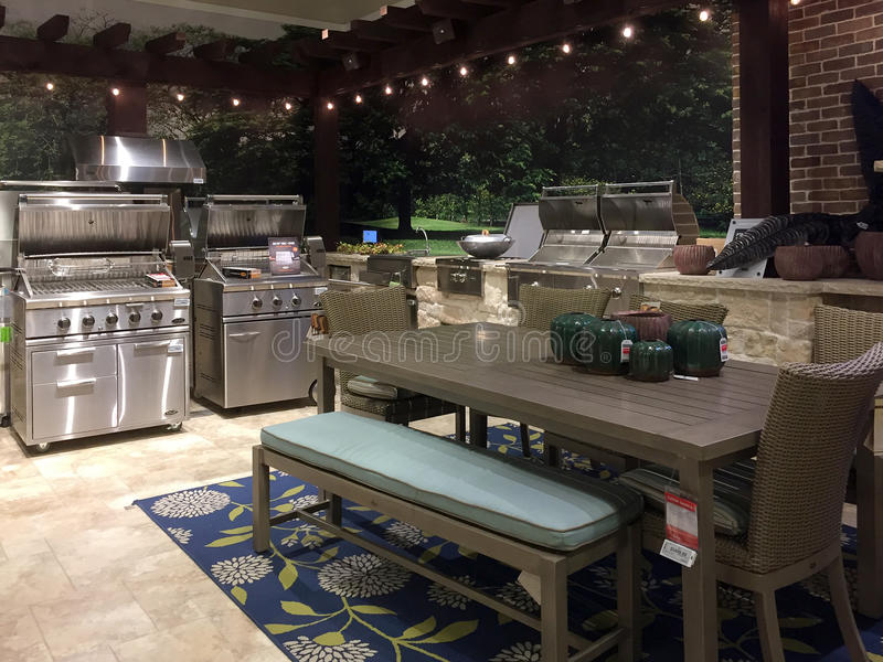 Outdoor patio sale at furniture market stock images