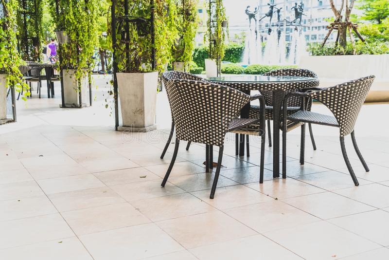 outdoor patio table and chair royalty free stock photo